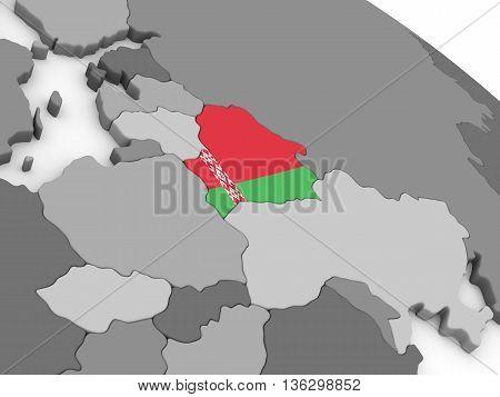 Belarus On Globe With Flag