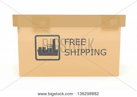 3D Free Shipping Text Illustrated Cardboard Carton Box