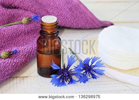 Herbal essence. Cornflower tincture, dark glass apothecary bottle, towel, cotton pads, fresh blue flower. Natural skin treatment.
