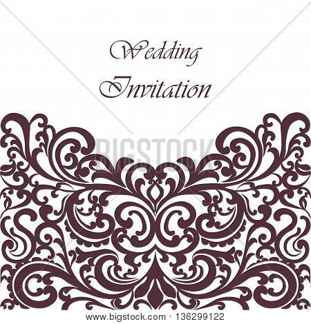 Wedding Invitation card with lace ornament. Purple Fig color. Vector