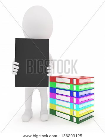 3D Character Holding A File In Hand With A Stack Of Files On The Floor Near By Concept