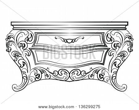 Elegant table with drawers rich ornamented. Baroque Luxury style furniture. Vector