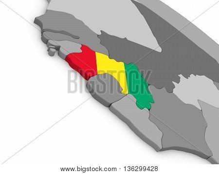 Guinea On Globe With Flag