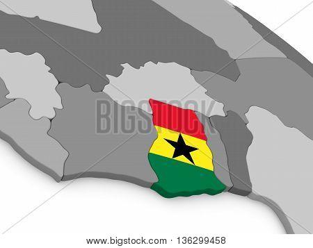 Ghana On Globe With Flag