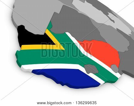 South Africa On Globe With Flag