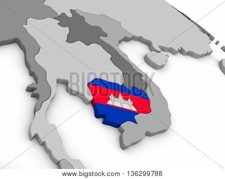 Cambodia On Globe With Flag