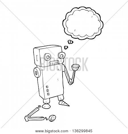 freehand drawn thought bubble cartoon broken robot