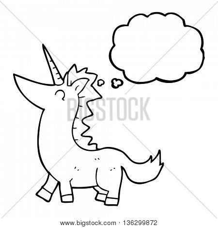 freehand drawn thought bubble cartoon unicorn