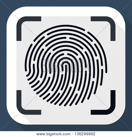Vector Fingerprint Scanner Icon. Fingerprint Scanner Simple Icon In Flat Style With Long Shadow