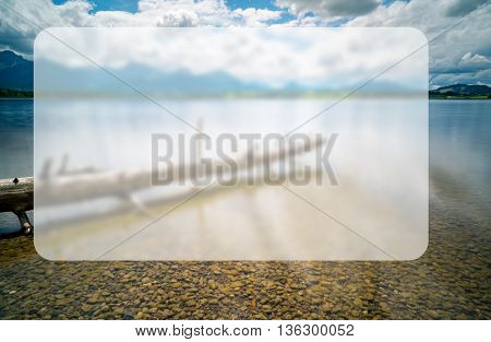 Dead tree in the lake, Banner Blank Board Message Copy-space Concept