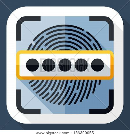 Vector Information Security Concept - Fingerprint Scanner And Password Icon. Information Security Co