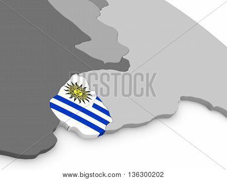 Uruguay On Globe With Flag