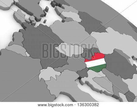 Hungary On Globe With Flag