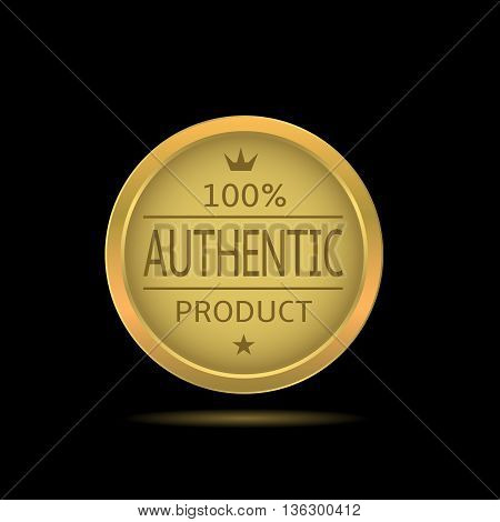 Authentic product label. Golden badge with star and crown, Original product