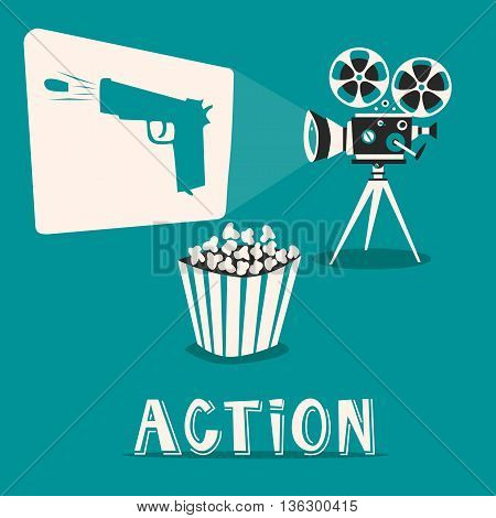 Action in the cinema. Intriguing film with popcorn. Shooting and fighting on an old projector