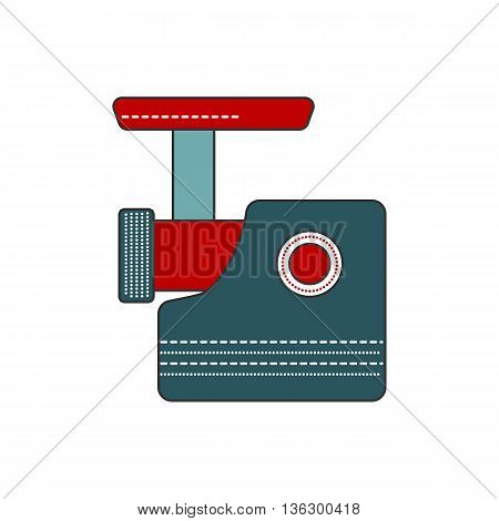 Simple and modern kitchen meat grinder icon. Flat filled line indoor kitchen appliances design. Kitchen equipment for mince meat. Cooking raw meat. Flat vector kitchen meat grinder