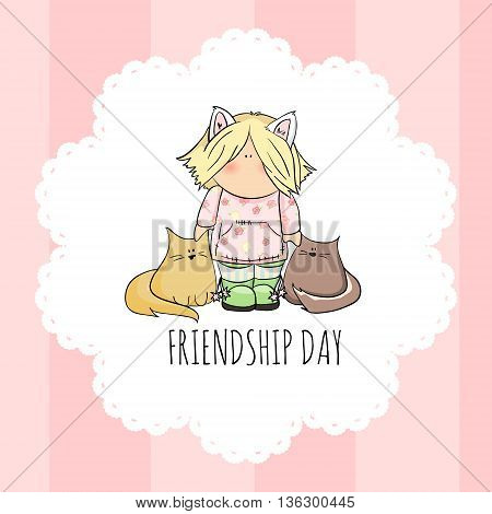 cute girl with cats doodle illustration. friendship day. pink background.