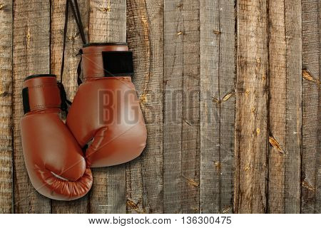 Pair of brown boxing gloves hanging on wooden wall