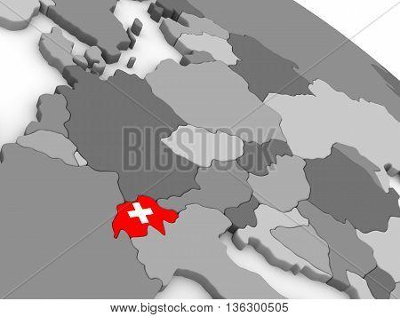 Switzerland On Globe With Flag