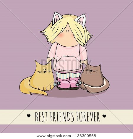 cute girl with cats doodle illustration. friendship day. violet background. congratulation card