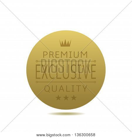 Exclusive quality label. Golden badge with stars and crown