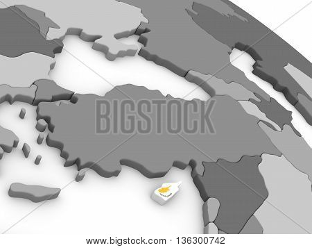 Cyprus On Globe With Flag