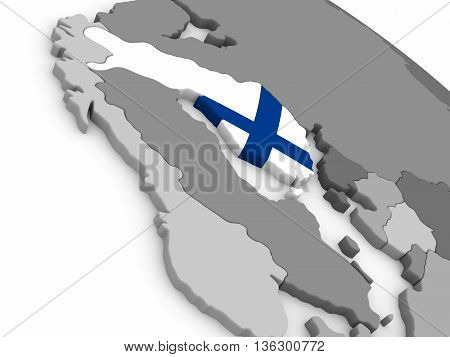 Finland On Globe With Flag