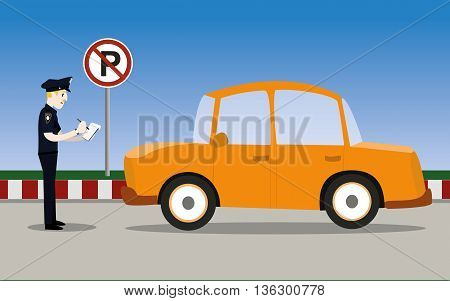 vector illustration of traffic policeman writing a parking ticket to a car in no parking area