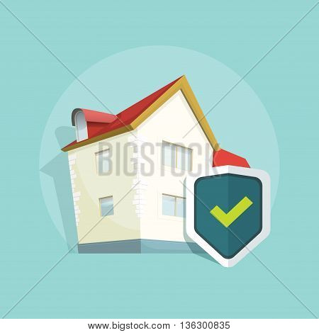 Home insurance vector symbol, real estate insurance, concept of property protection, flat house protected with shield illustration on blue background