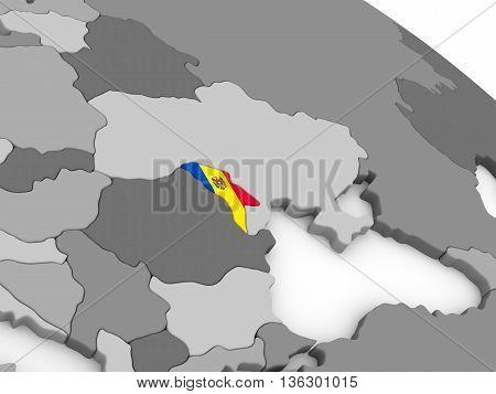 Moldova On Globe With Flag