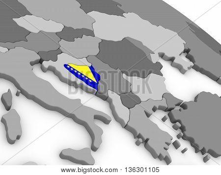 Bosnia On Globe With Flag