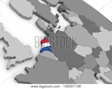 Netherlands On Globe With Flag