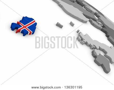 Iceland On Globe With Flag