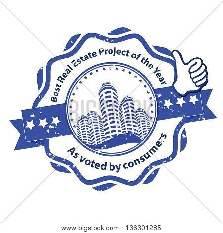 Best real estate project of the year, as voted by consumers - grunge blue stamp / label for real estate industry / business