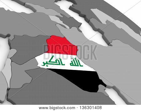 Iraq On Globe With Flag