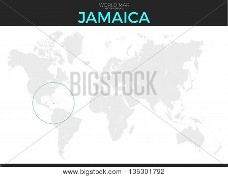 Jamaica location modern detailed vector map. All world countries without names. Vector template of beautiful flat grayscale map design with selected country and border location