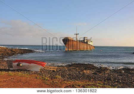 shipwreck at Coasta Teguise on spanish volcanic island Lanzarote