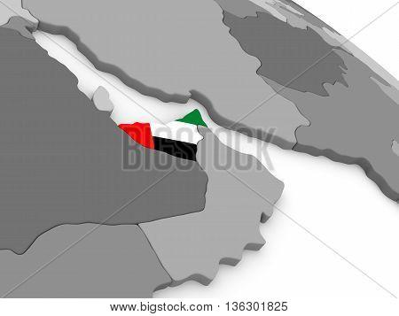 United Arab Emirates On Globe With Flag