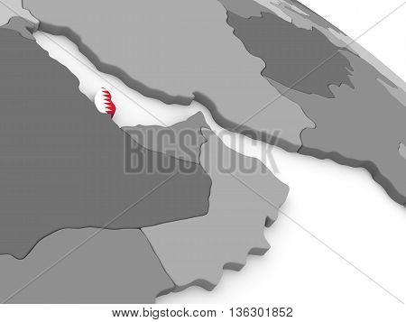 Qatar On Globe With Flag