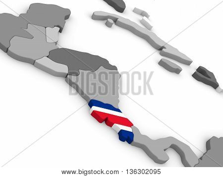 Costa Rica On Globe With Flag