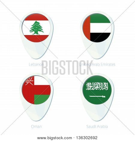 Lebanon, United Arab Emirates, Oman, Saudi Arabia Flag Location Map Pin Icon.