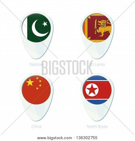 Pakistan, Sri Lanka, China, North Korea Flag Location Map Pin Icon.