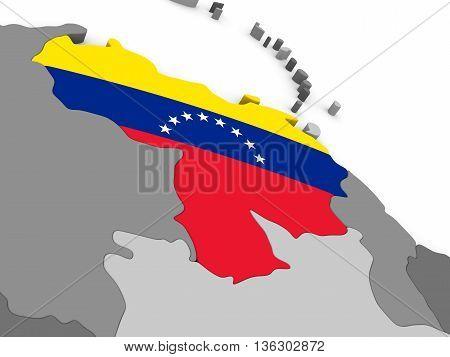 Venezuela On Globe With Flag