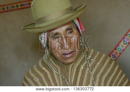 October 22 2-12 - Paru Paru, Peru: Portrait of a Native Peruvian man wearing typical andean robe, Paru Paru indigenous community, Andes Mountains.