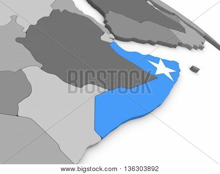 Somalia On Globe With Flag