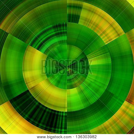 art abstract graphic spherical monochrome blurred background in green, gold, black and yellow colors; geometric pattern