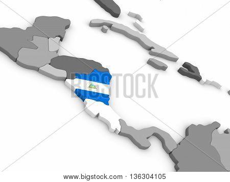 Nicaraqua On Globe With Flag
