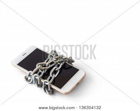 Modern mobile phone with chain locked isolate on white background with clipping path and copy space. Concept of social network issues forgot password information security robbery or piracy
