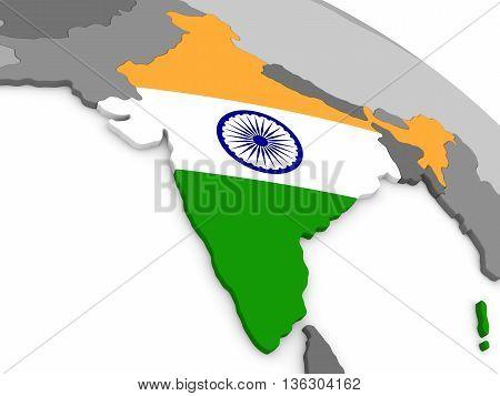 India On Globe With Flag