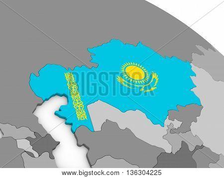 Kazakhstan On Globe With Flag